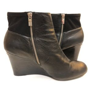 Michael Kors Leather Wedge Boots Zip Black Sz 10